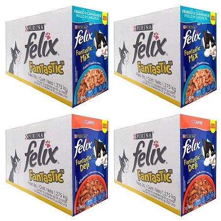 Combo 60un Felix Fantastic Sachê 85g Frango Caranguejo/Carne