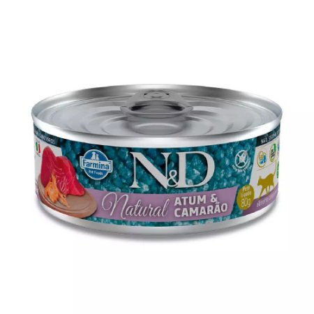 Ração Úmida N&D Lata Gatos Natural Sabor Atum e Camarão 80g