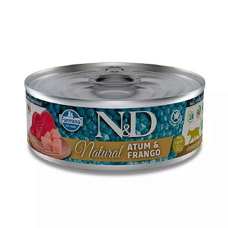 Ração Úmida N&D Lata Gatos Natural Sabor Atum e Frango 80g