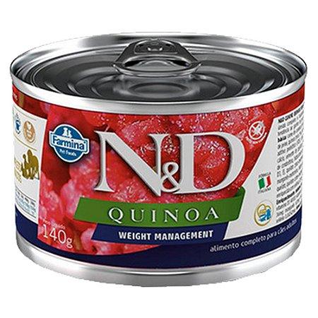 Ração Úmida N&D Lata Cães Quinoa Weight Cordeiro 140g