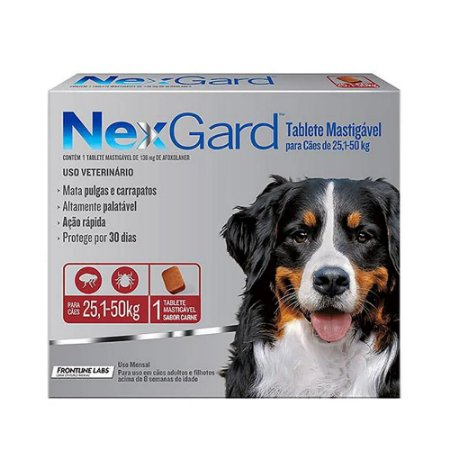 Nexgard Antipulgas E Carrapatos Cães 25 A 50kg 1 Tablete - Boehringer