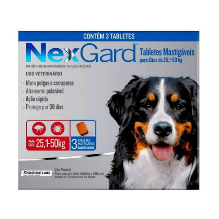 Nexgard Antipulgas E Carrapatos Cães 25 A 50kg 3 Tabletes - Boehringer