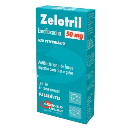 Antibacteriano Zelotril 50mg Cães e Gatos 12 Comprimidos - Agener