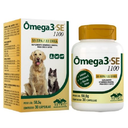 Suplemento Vitamínico Ômega 3 + SE 1100 30 Cápsulas - Vetnil