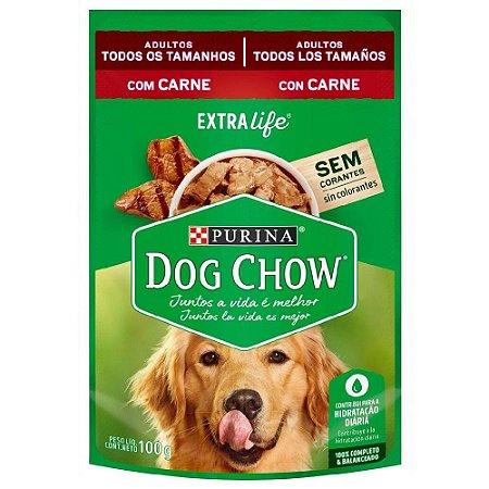 Ração Úmida Purina Dog Chow Sachê Cães Adultos Sabor Carne e Arroz 100g
