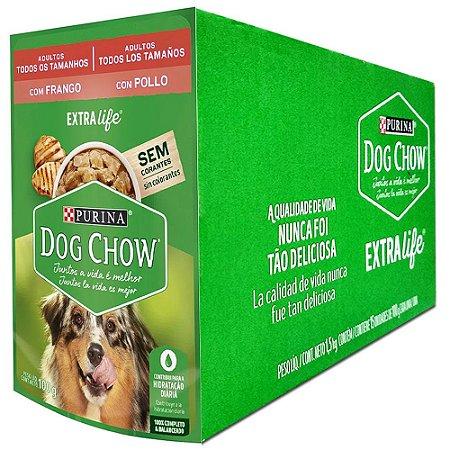 Ração Úmida Purina Dog Chow Sachê Cães Adultos Sabor Frango e Arroz Caixa 15un 100g