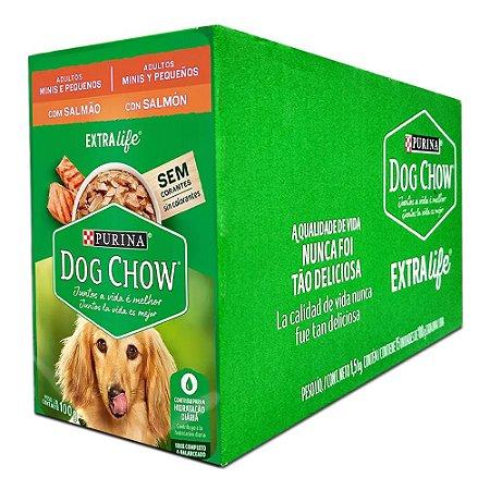Ração Úmida Purina Dog Chow Sachê Cães Adultos Raças Pequenas Sabor Salmão Caixa 15un 100g Cada