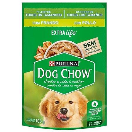 Ração Úmida Purina Dog Chow Sachê Cães Filhotes Sabor Frango e Arroz 100g Cada