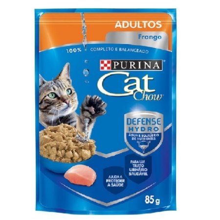 Ração Úmida Cat Chow Sachê Gatos Adultos Sabor Frango 85g - Purina