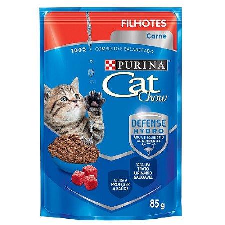 Ração Úmida Purina Cat Chow Sachê Gatos Filhotes Sabor Carne 85g