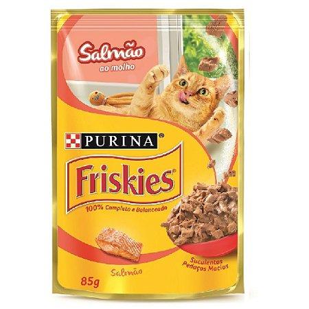 Ração Úmida Friskies Sachê Gatos Adultos Sabor Salmão ao Molho 85g - Purina