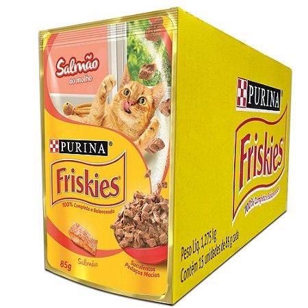 Ração Úmida Friskies Sachê Gatos Adultos Sabor Salmão ao Molho Caixa 15un 85g Cada - Purina