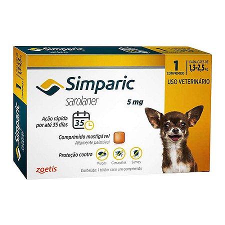 Simparic Antipulgas 5mg 1,3 a 2,5kg Combo 3 Comprimidos - Zoetis