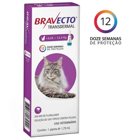 Bravecto Transdermal Gatos 6,25 a 12,5kg Antipulgas - MSD