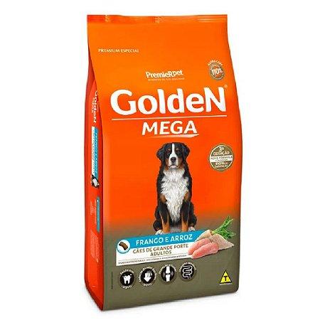 Ração Premium Especial Golden Mega Cães Adultos Sabor Frango e Arroz Raças Grandes e Gigantes 15kg - PremierPet