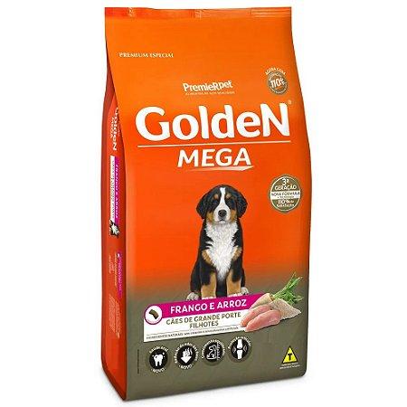 Ração Premium Especial Golden Mega Cães Filhotes Raças Grandes e Gigantes Sabor Frango e Arroz 15kg - PremierPet