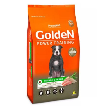 Ração Premium Especial Golden Power Training Cães Adultos Sabor Frango e Arroz 15kg - PremierPet