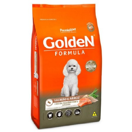 Ração Premium Especial Golden Fórmula Cães Adultos Raças Pequenas Sabor Salmão e Arroz Mini Bits 15kg - PremierPet