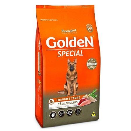 Ração Premium Especial Golden Special Cães Adultos Sabor Frango e Carne Raças Médias e Grandes 15kg - PremierPet