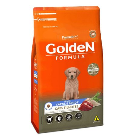 Ração Premium Especial Golden Fórmula Cães Filhotes Raças Médias e Grandes Sabor Carne e Arroz 3kg - PremierPet