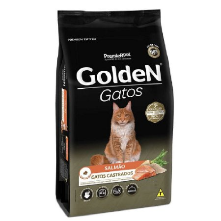Ração Premium Especial Golden Gatos Castrados A partir de 6 Meses Sabor Salmão 3kg - PremierPet