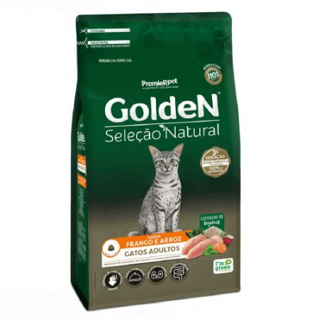 Ração Premium Especial Golden Gatos Seleção Natural Adultos Sabor Frango e Arroz 3kg - PremierPet
