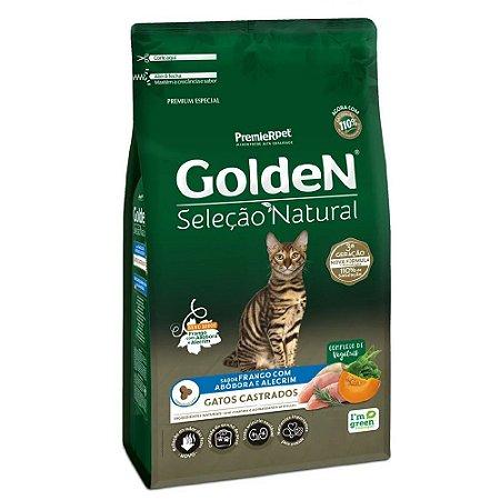 Ração Premium Especial Golden Gatos Seleção Natural Castrados A partir de 6 meses Sabor Frango Com Abóbora e Alecrim 3kg - PremierPet
