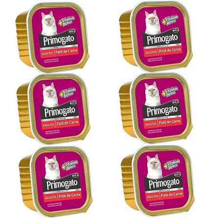 Ração Úmida Primogato Premium Patê Gatos Adultos Sabor Carne Combo 6un 150g Cada - Hercosul