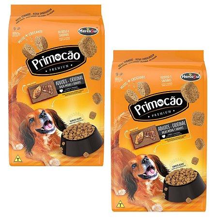 Combo 2un Ração Cães Adultos Primocão Premium Original Sabor Carne e Frango Raças Médias e Grandes 1kg cada - Hercosul