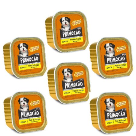 KIT 6UN Alimento Primocão Premium Patê Filhotes Frango 300g