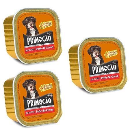 Ração Úmida Primocão Premium Patê Cães Adultos Sabor Carne Combo 3un 300g Cada - Hercosul