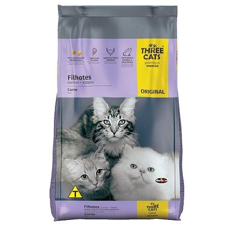 Ração ThreeCats Original Premium Especial Gatos Filhotes Sabor Carne 10,1kg - Hercosul
