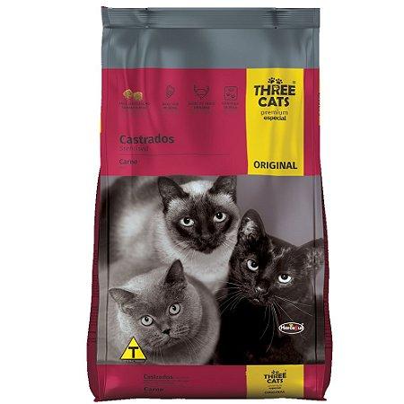 Ração ThreeCats Original Premium Especial Gatos Castrados Sabor Carne 10,1kg - Hercosul