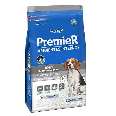 Ração Super Premium Premier Ambientes Internos Light Cães Adultos Raças Pequenas Sabor Frango e Salmão 12kg - PremierPet