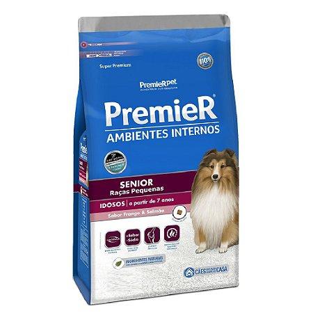 Ração Super Premium Premier Ambientes Internos Sênior Cães Adultos A Partir de 7 Anos Raças Pequenas Sabor Frango e Salmão 12kg - PremierPet