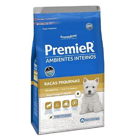 Ração Super Premium Premier Ambientes Internos Cães Filhotes Raças Pequenas Sabor Frango e Salmão 1kg - PremierPet