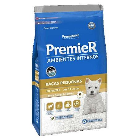 Ração Super Premium Premier Ambientes Internos Cães Filhotes Raças Pequenas Sabor Frango e Salmão 7,5kg - PremierPet