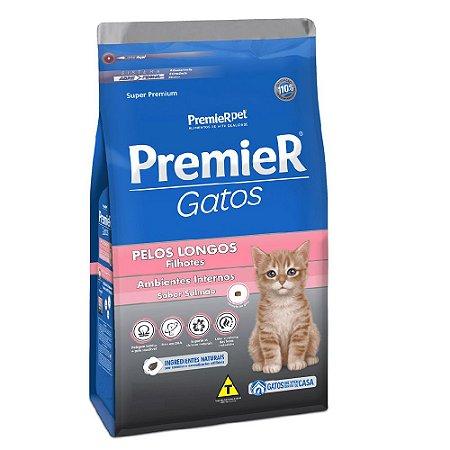 Ração Super Premium Premier Gatos Filhotes Pelos Longos Ambientes Internos Sabor Salmão 7,5kg - PremierPet
