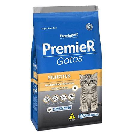 Ração Super Premium Premier Gatos Filhotes Ambientes Internos Sabor Frango 7,5kg - PremierPet