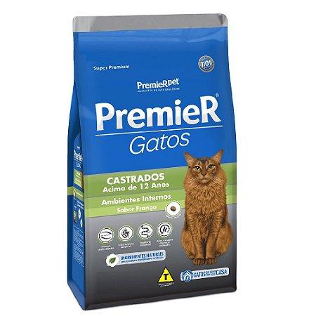 Ração Super Premium Premier Gatos Castrados Acima de 12 anos Ambientes Internos Sabor Frango 1,5kg - PremierPet
