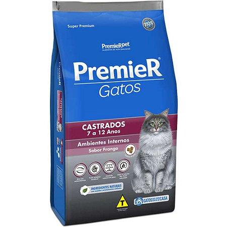 Ração Super Premium Premier Gatos Castrados 7 a 12 anos Ambientes Internos Sabor Frango 1,5 kg - PremierPet