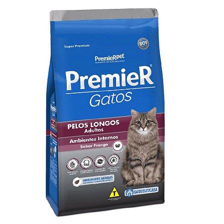 Ração Super Premium Premier Gatos Adultos Pelos Longos Ambientes Internos Sabor Frango 1,5kg - PremierPet