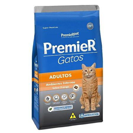 Ração Super Premium Premier Gatos Adultos Ambientes Internos Sabor Frango 7,5kg - PremierPet