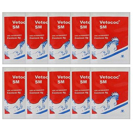 Combo 10 sachês Antidiarréico Vetococ SM 4g Cada