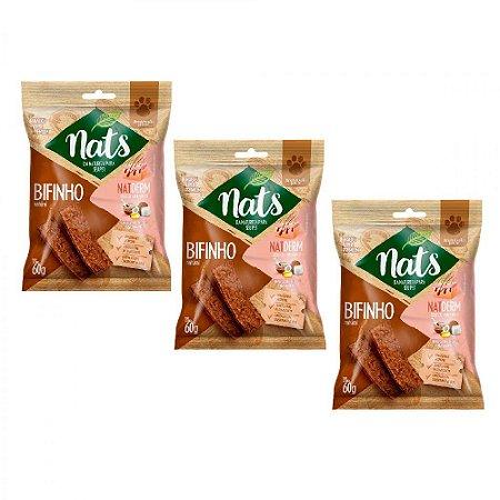 Combo 3un Snack Nats Bifinho Natural NatDerm 60g