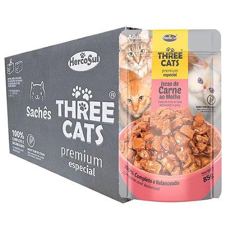 Ração Úmida Three Cats Premium Especial Sachê Gatos Adultos Sabor Carne ao Molho Caixa 12un 85g Cada - Hercosul