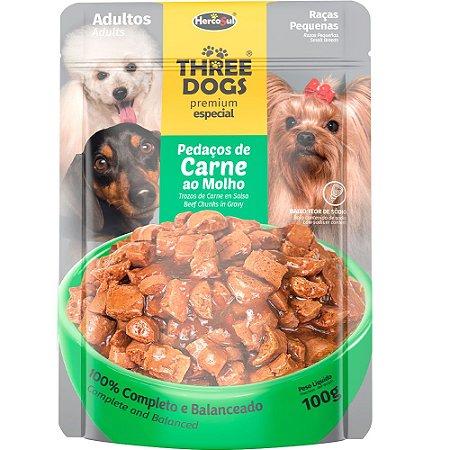 Ração Úmida Three Dogs Premium Especial Sachê Cães Adultos Raças Pequenas Sabor Carne ao Molho 100g - Hercosul