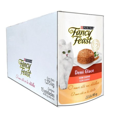 Kit 15Un Sachê Fancy Feast Demi Glace Carne 85g Purina