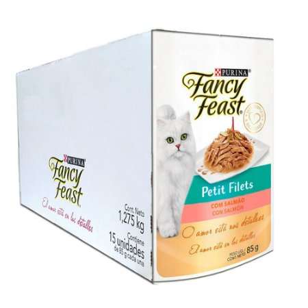 Ração Úmida Fancy Feast Sachê Gatos Adultos Petit Filets Sabor Salmão Caixa 15un 85g Cada - Purina