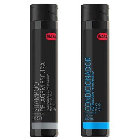 Kit Ibasa Shampoo Pelos Escuros 250ml + Condicionador 250ml